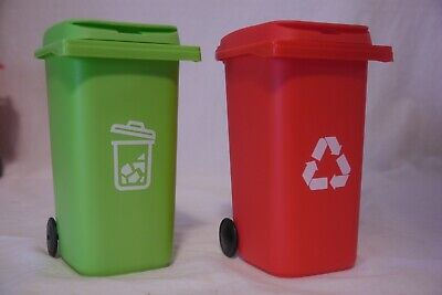 New 2 Desk Decor Pencil Holder Mini Red Recycling Bin Green Garbage Can 6in