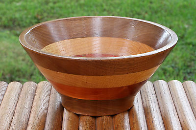 Vintage Folk Art Wooden Bowl Artisan Handcrafted Turned Candy Dish