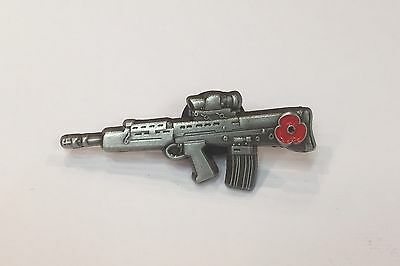 Military Soldier SA 80 Rifle Poppy Lapel Pin 10% Donated To The British Legion