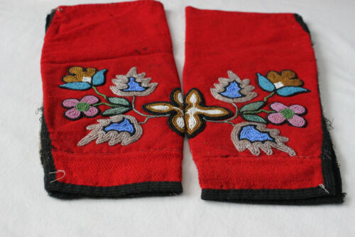 Early 20th Century Pair of Ojibwa Cloth Leggings with Beaded Floral Motifs
