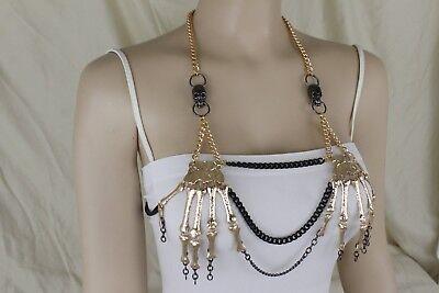 Women Fashion Gold Body Chain Skull Skeleton Jewelry Charm Sexy Gothic Halloween