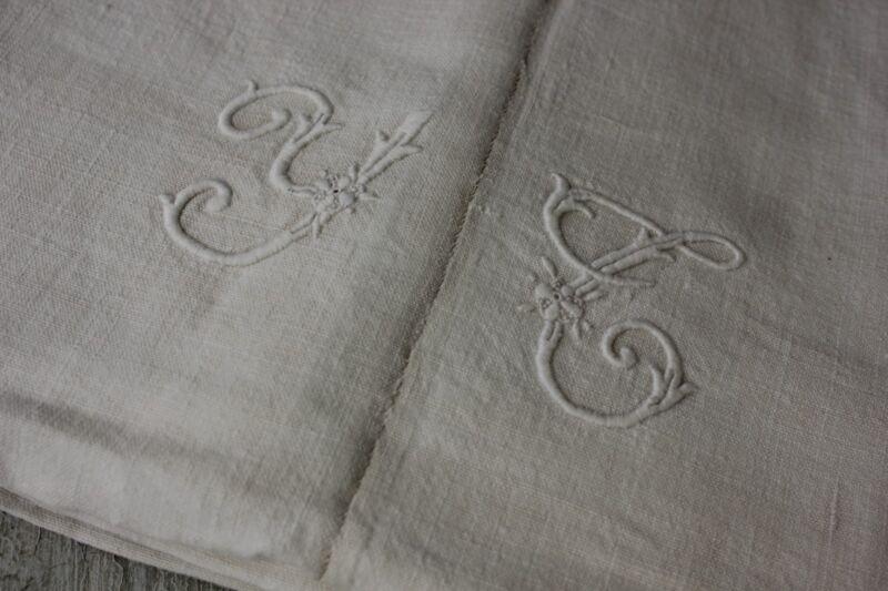 Antique French linen sheet with white monogram circa 1880