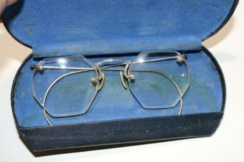 Antique Eye Glasses In Case - Silver Tone Frames