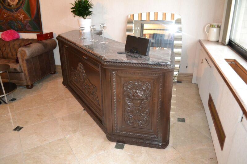 8 Foot Antique Mahogany Serving Bar & Back Bar Cabinets & Marble Top