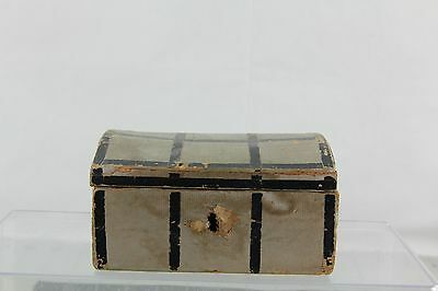 ANTIQUE WOOD DOLL TRUNK WITH ORIGINAL INTERIOR AND SCRAP PHOTO