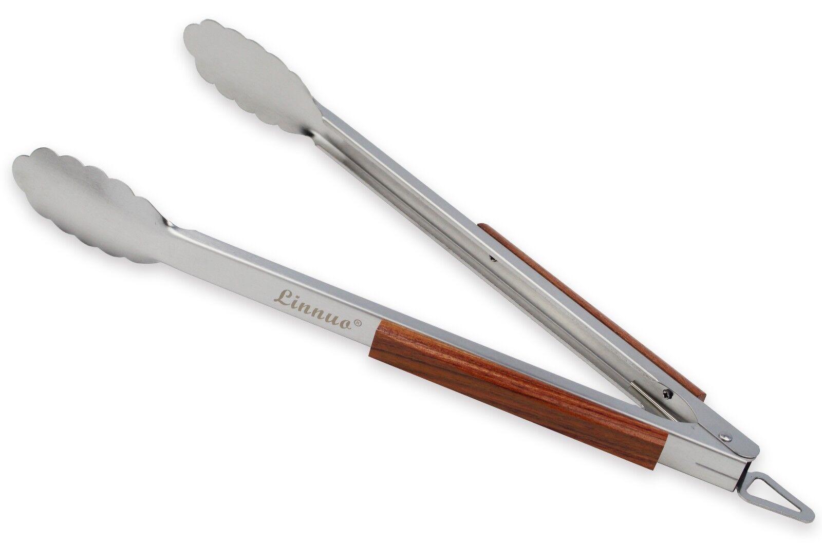 Linnuo Grillzange aus Edelstahl mit Holzgriff XXL 45cm