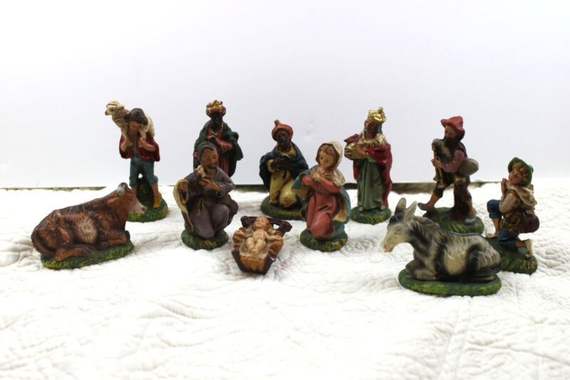 "Lot 11 Italy Christmas Nativity Figures 4"" Vintage Mary Joseph Jesus Wise Men D4"