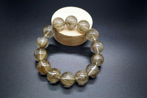 Natural Silver Rutilated Quartz Bracelet Round 16mm Healing Chakra Crystal Man