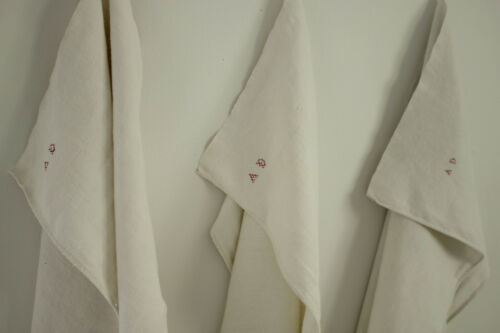Set of 3 Antique European Sturdy Linen Towels AD Initials Monogram