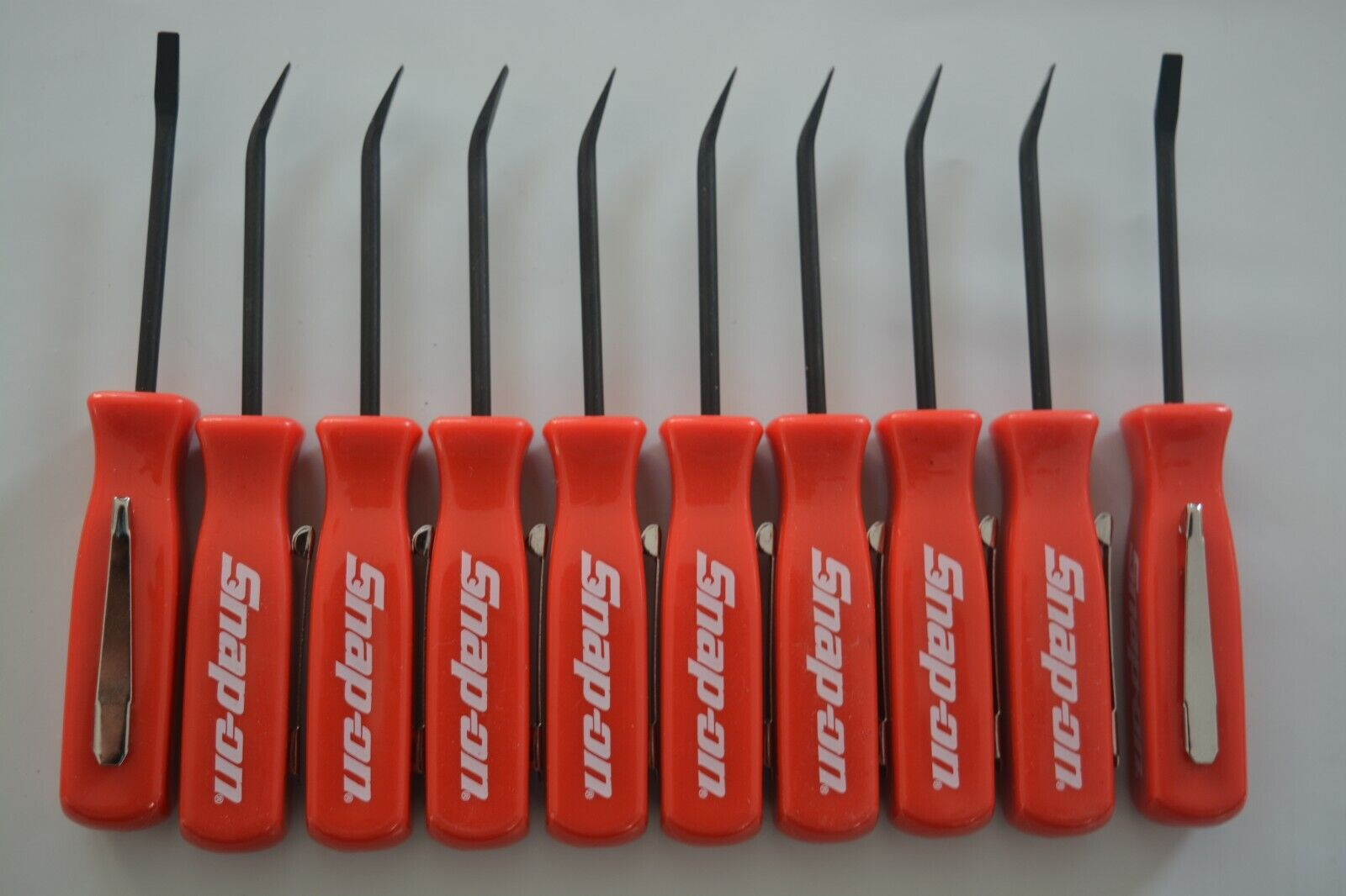 PROMOTIONAL SNAP ON TOOLS MINI POCKET PRY BAR WITH CLIP FLAT TIP RED HANDLE 10PC