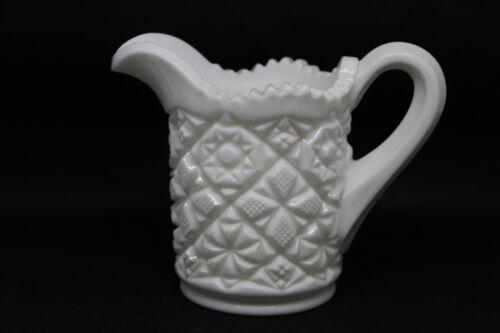 Vintage Westmoreland White Milk Glass Creamer Old Quilt Pattern