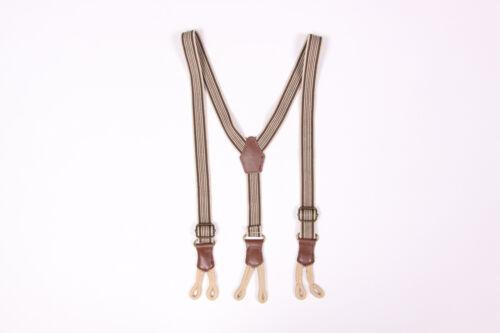 Boys Gentlemens Old Time Skinny Beige Brown Braces Suspenders