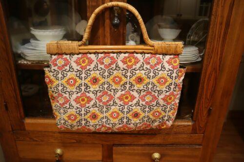 Vintage 1970s Quilted Boho Sewing Knitting Tote Bag, Handbag, Wood Rattan Handle