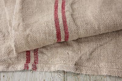 Antique French PURE linen red striped dish kitchen towel c1920 hemp