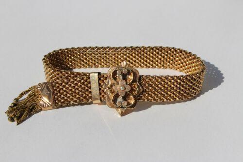 1882 Antique Victorian Gold Filled Mesh Bracelet with Ornate Slide & Tassel