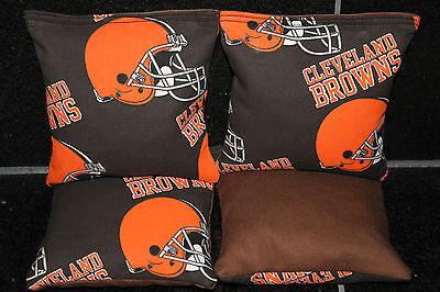 4 CORNHOLE BEAN BAGS made w CLEVELAND BROWNS fabric Top Quality Handmade! (Cleveland Browns Nfl Bean Bag)