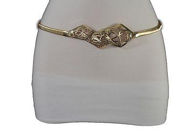 Women Elastic Gold Metal Waistband Narrow Fashion Belt Long Geometric Buckle S M