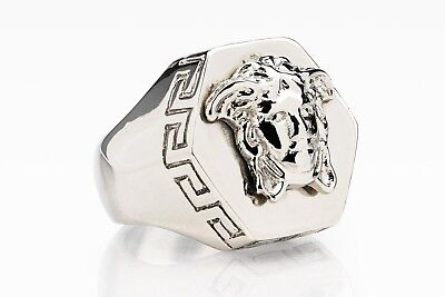 Versace Ring Hexagon Medusa head Silver color Mens jewelry Hip hop Size 8 (18)