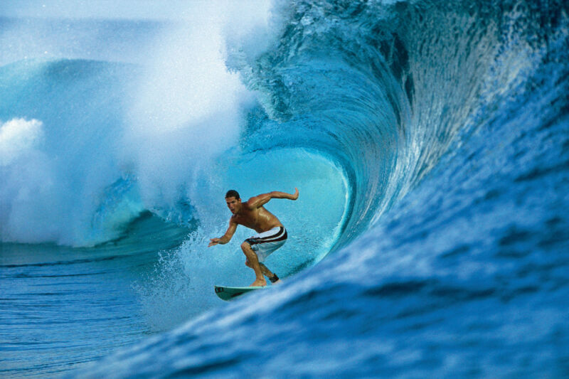 """Andy Irons in French Polynesia 12x18"""" Photo by Pete Frieden"""