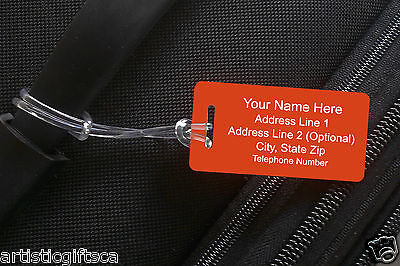 2 Personalized Engraved Plastic Luggage/Sport/I.D. Tags 31 Colors Free Engraving