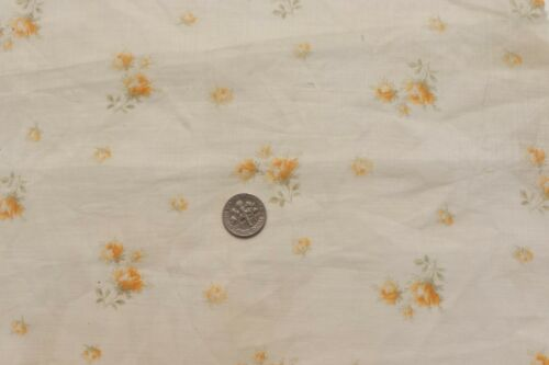 "Antique French 19thC Tiny Yellow Rose Lawn Fabric~L-16"" X W-12"""