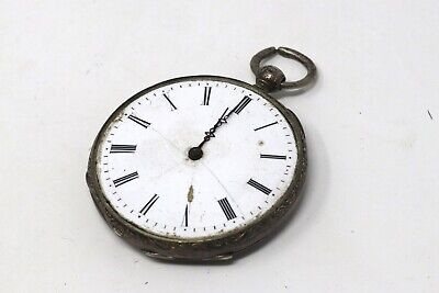 Ladies Antique Victorian Solid Silver Key Wind Pocket Watch Running Spares Cased