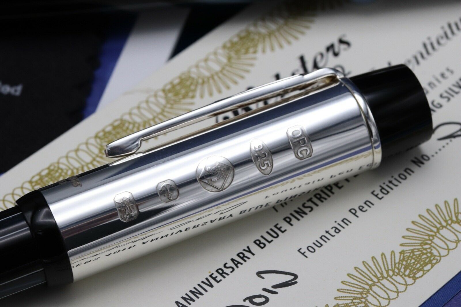 Onoto Black Blue Websters Silver LE Fountain / Rollerball Pen Set - UNUSED 4