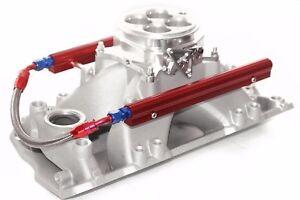 SBC Aluminum EFI Fuel Injection Intake 1200 CFM Throttle Body & Fuel Rails Chevy