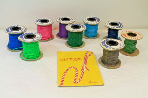 VTG Pepperell Rexlace Vinyl Craft Lacing Lot of 9  Spools Scouting Project Book