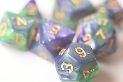 NEW Regal Green and Purple Royal Swirl Poly Dice Set (7) RPG DnD w/ Gold Numbers - Purple Green And Gold