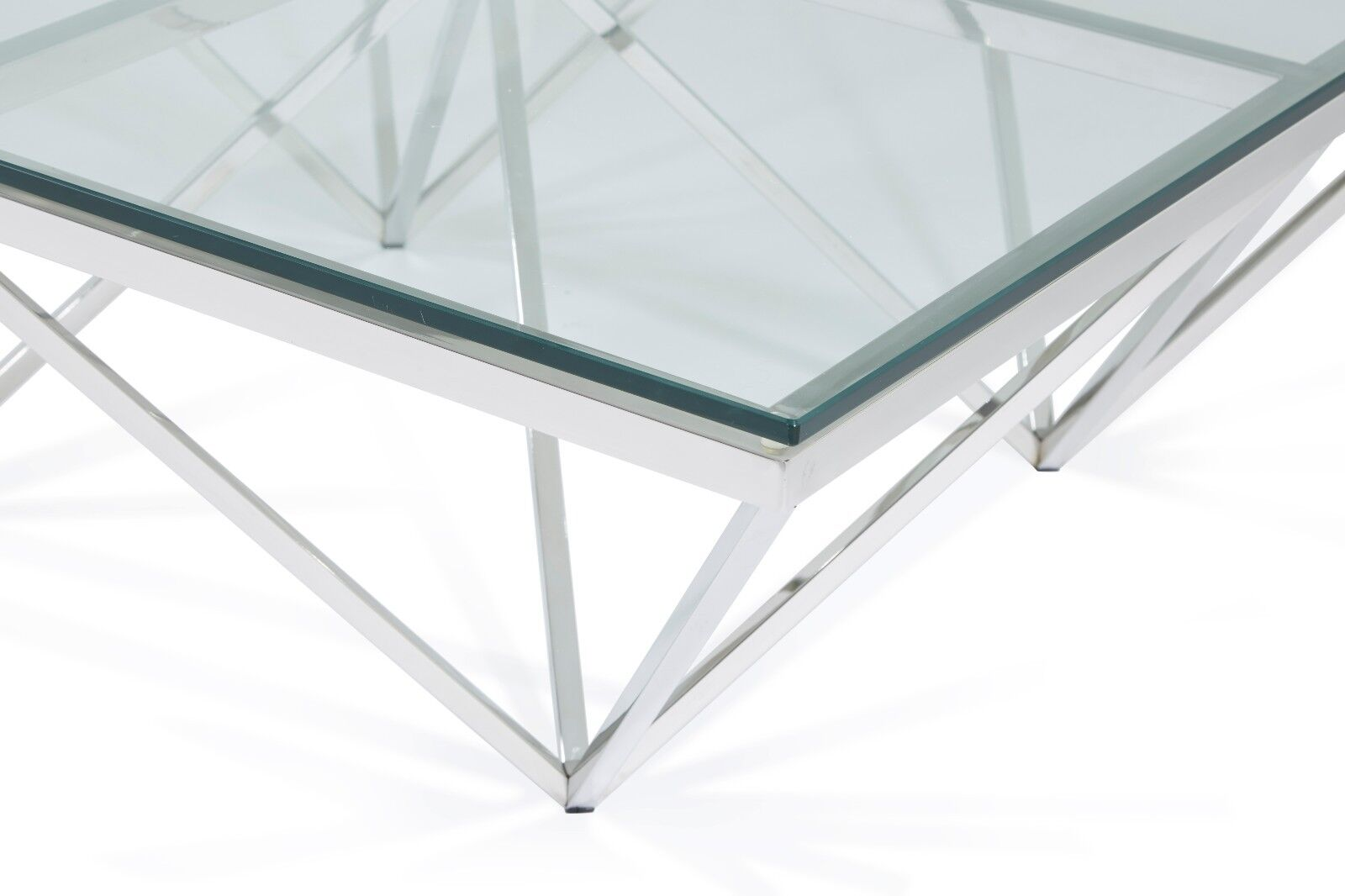 Giza Modern Square Glass Coffee Table In Stainless Steel Frame Star Design