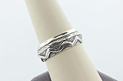 Southwestern Etched Design Wave Pattern Sterling Silver 925 8mm Band Ring Sz 10