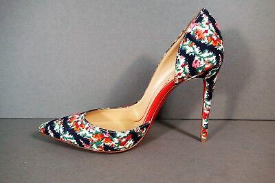 LOUBOUTIN 37 IRIZA 100 Black Floral Denim D'Orsay Point Toe Pumps Heels NEW Shoe