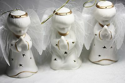 trio porcelain angel ornaments lighted wings white adorable collectible
