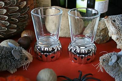 POTTERY BARN CAST JACK O'LANTERN SHOT GLASSES (2) –NWT- TWO-FACED HALLOWEEN FUN!