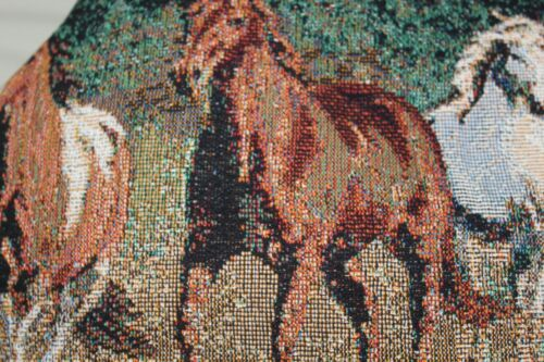 """Tapestry Pillow Sham Case Horses  O.C Cumming 19"""" x 27"""" NEW  Woodworkers Weaver"""