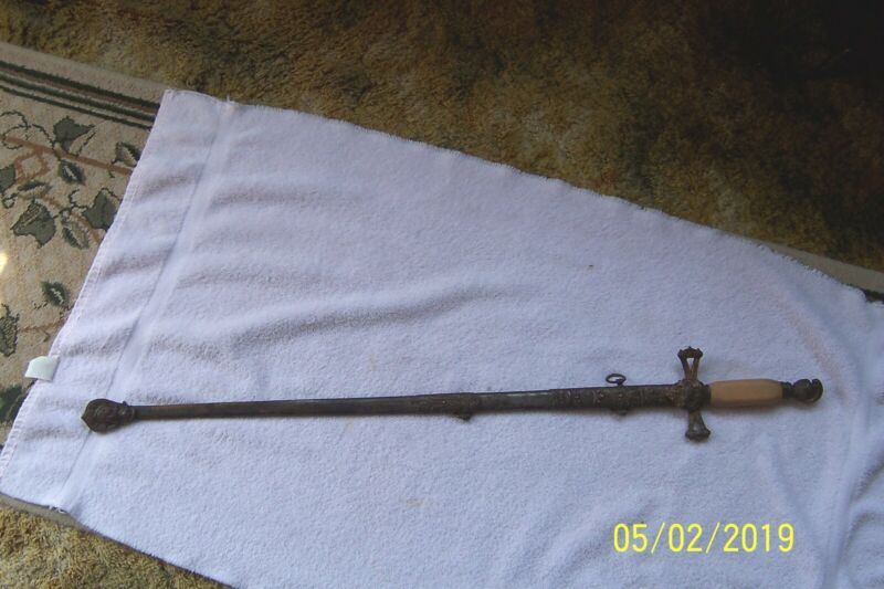 Antique Ornate Knights Templar of COLUMBUS Masonic Ceremonial Sword/Engraved