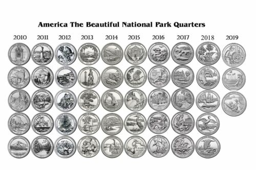2010-2019  NATIONAL PARK 48 COIN QUARTER SET Philadelphia Mint - ALL NICE UNC