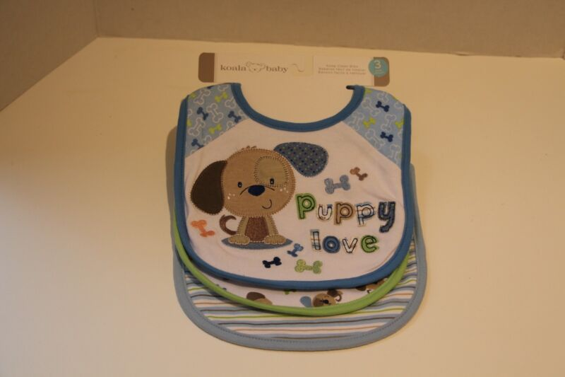 Koala Baby 3-piece BIB Set Blue Dog Puppies NEW w tags Blue Striped BIB Green