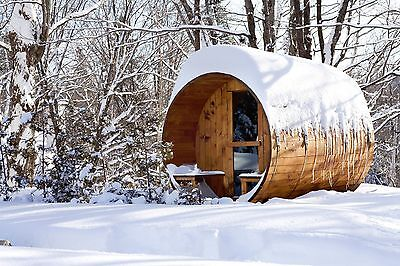 Barrel Sauna,Red Cedar,Front Porch,Electric Heater, 8 Feet, Fits 4+2 (BRT-68P-U) Cedar Barrel Sauna