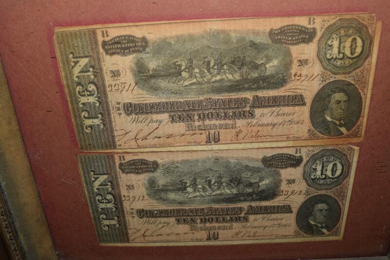Original Confederate Money $10 Bills in Antique Frame Richmond 1864