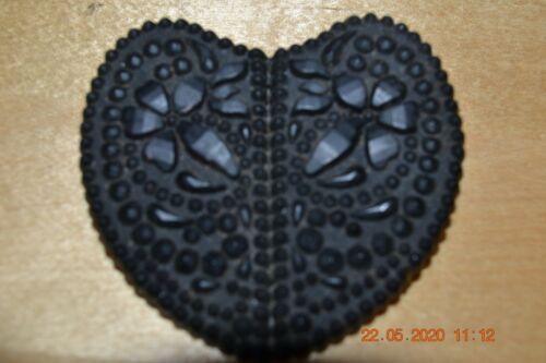 Victorian Black Gutta-percha Mourning Brooch Pin  Large Heart