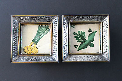 Vintage ca.1940's 2 Mexican Tile Hand tooledTin&Brass Frame Chilo Botes LOVELY
