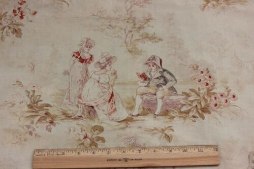 Antique c1890-1900 French Faded Printed Cotton Romantic Toile Fabric Panel