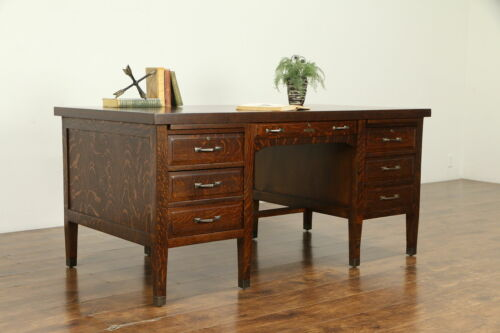 Oak Quarter Sawn Antique Craftsman Executive or Library Desk Brass Mounts #32515