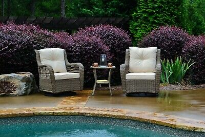 3 Pc Outdoor Patio Wicker Rattan Swivel Glider Bistro Set Chairs Table Poolside