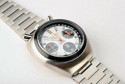Rare Vintage Citizen Bullhead 8110A Day Date Chronograph Automatic S.S Watch