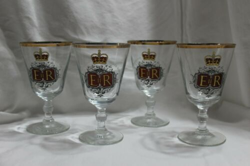 Set of 4 Queen Elizabeth II Silver Jubilee Commemorative Wine Glasses 1977