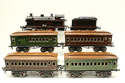 """Bing 11/884 """"1425"""" 18 Volt Dampflok mit 4 Personenwagen 10/523, 10/524, ohne OVP"""