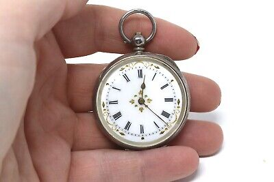 Ladies Antique Victorian Solid Silver Key Wind Fob Pocket Watch Spares Pretty